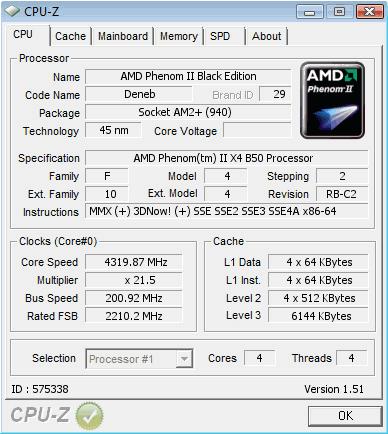 Phenom II X2 550 Black Edition позволяет включить все четыре ядра