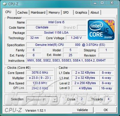 Первая информация процессора Clarkdale 3,06 ГГц
