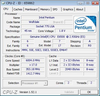 Pentium E6500K разогнан до 6 ГГц