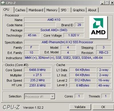 Разогнан Phenom II X2 555 Black Edition до 6.6 ГГц