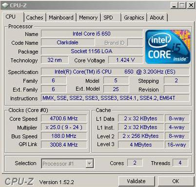Процессор Core i5-650 нового степпинга разгоняется до 4.7 ГГц