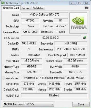 GeForce GTX 275 разогнана до 1375 МГц по ядру