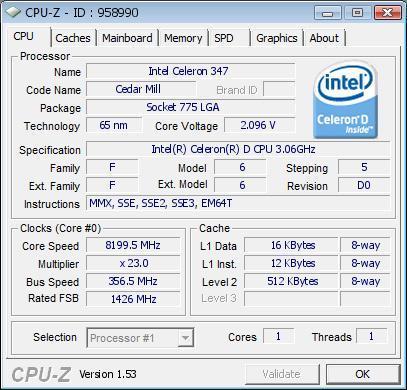Разгон процессор Celeron D 347 до 8199 МГц
