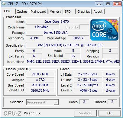 Оверклокер разгонал процессор Core i5 670 (Clarkdale) до 7,11 ГГц