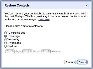 Опция восстановления контактов в Gmail