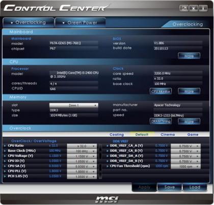 Control Center II – разгон систем на базе материнских плат MSI